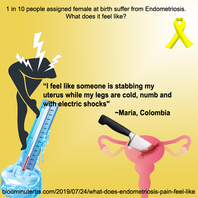 I feel like someone is stabbing my uterus while my legs are cold, numb, and with electric shocks. Maria, Colombia