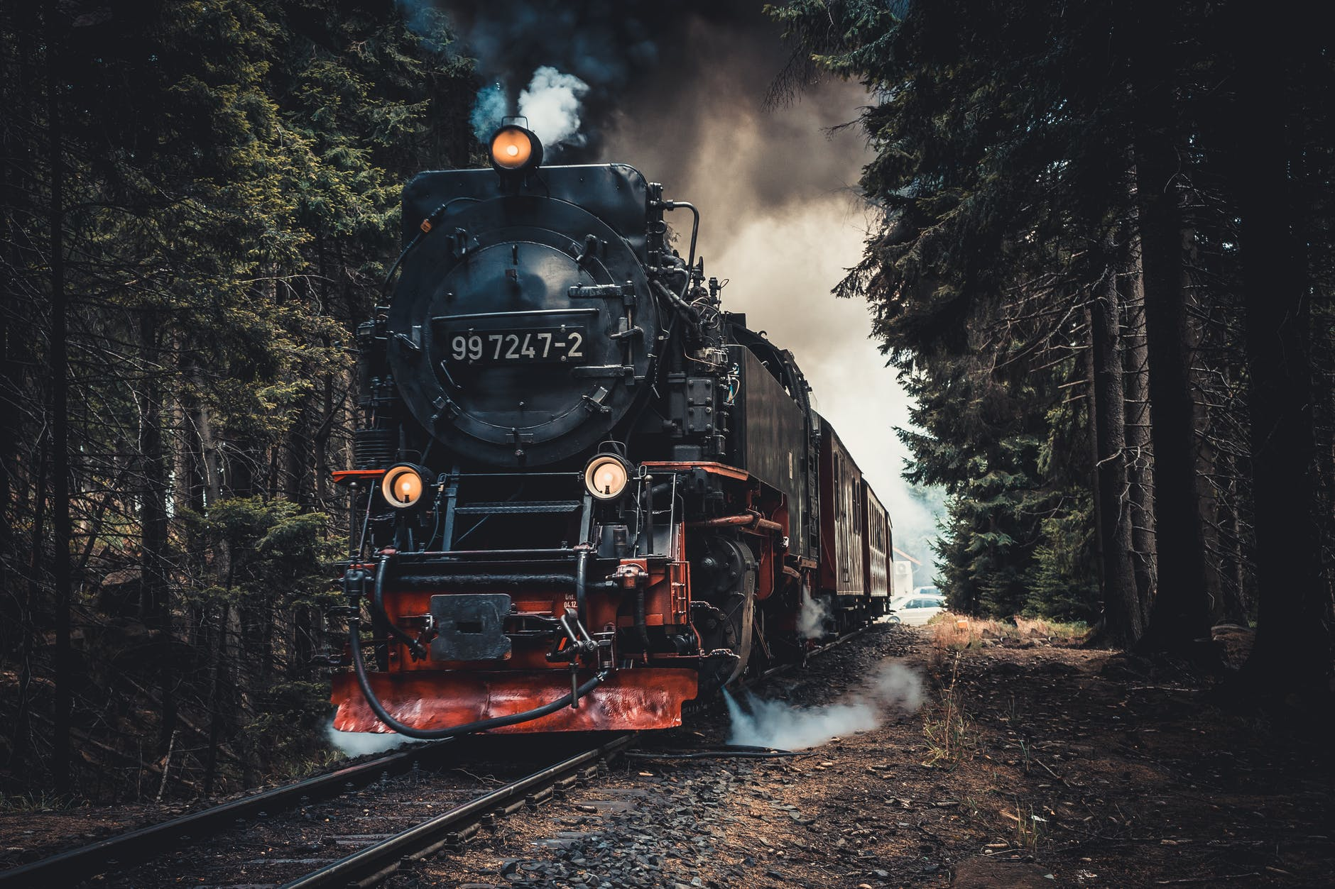 Steam engine riding tracks through the forest